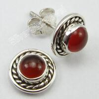 925 Pure Sterling Silver Carnelian 1.8 Ct Stud Post Earrings Women's Jewelry