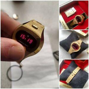 Ladies 70's NOS Hamilton 14K GEP Solid State Quartz Elec Digital Date Watch+Box