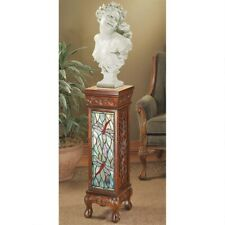 "Dragonfly Stained Glass Illuminated Hand Carved Handmade 35"" Column Pedestal"
