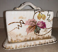 Antique German Floral Porcelain Cheese Plate With Cover 2395.90 800II