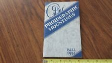 1931 Collins Photographic Mountings Easels Brochure Price Guide Book