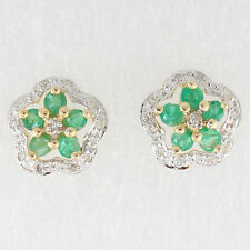 Emerald 9 Carat Cluster Yellow Gold Fine Earrings