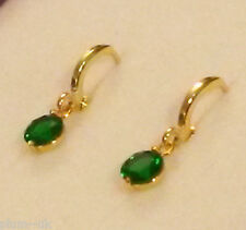 N16 Real Gold gf huggie hoop earrings, small 7.5mm green emerald droppers BOXED