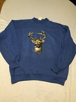 Vintage 80's Blue Buck Deer Wildlife Nature Sweatshirt - Size XXL - Made In USA