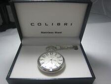 New Colibri Stainless Steel Pocket Watch & Chain Set