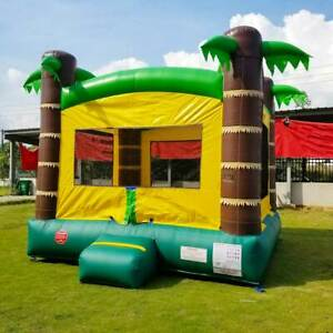 USED Inflatable Bounce House With Blower Kids Tropical Island Vinyl Jump Castle
