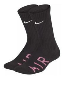 Nike Socks Boys Two Pairs Crew Authentic NikeAir Dri Fit Cushioned Athletic Gym