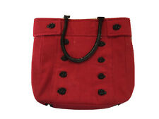 Red & Black Handbag Purse Braciano Faux Wool Patent Leather Buttons