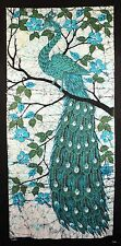 Peacock with Hibiscus Fabric Art Panel Wall Hanging Textiles Tapestry Tie Dye or