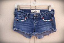 HOLLISTER STRETCH Size 0/1 Embroidered Hippie Retro Hot Mini Denim Short Shorts