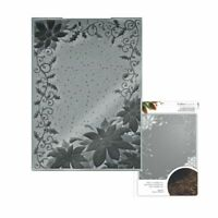 """Crafter's Companion 3D Embossing Folders Christmas 5"""" x 7"""" Pretty Poinsettia NEW"""