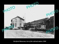OLD LARGE HISTORIC PHOTO OF ROCKFORD MINNESOTA THE RAILROAD STATION c1900