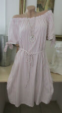 Neu Kleid Off Shoulder Carmen Sommer Gestreift Gürtel Rosa Weiß 38 40