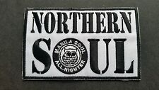 MOD SKA SCOOTER SEW ON / IRON ON PATCH:- NORTHERN SOUL (f) NIGHT OWL WHITE BLOCK