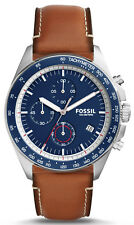 Fossil CH3039 Sport 54 Blue Dial Brown Leather Strap Chronograph Men's Watch
