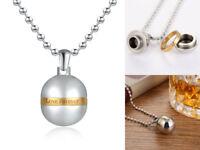 Love Forever Women Stainless Steel Opened Perfume Bottle Pendant Necklace Men