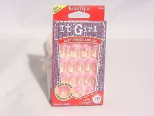 IT GIRL NAILS PRE-GLUE 20 NAIL #D220 CLEAR W/ PINK FRENCH TIP AND WHITE ROSE