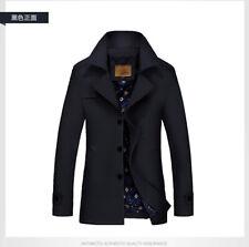 Mens Jacket Warm Winter Trench Coat Slim Fashion Casual Smart Button Windbreaker