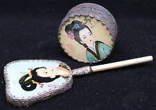 Japanese Geisha Vanity Hand Mirror and Powder Pill Dresser Box w Mirror inside
