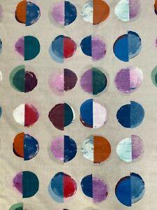 """JANE CHURCHILL CURTAIN FABRIC DESIGN  """"Olinda"""" 1 METRE BLUE/MULTI VELVET"""
