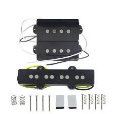 Set of Alnico 5 P & J Bass Pickups Single Coil Black for 4-String Precision Bass