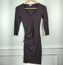 Standard James Perse Sueded Stretch Jersey Ruched Bodycon Dress Fig Womens Sz 1
