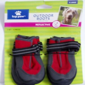 New Set of 4 Top Paw Outdoor Reflective Water Resistant Dog Boots X-Lg Red &Gray