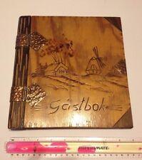 VINTAGE GUEST VISITOR BOOK ANTIQUE wooden brass SWEDEN handmade hotel wedding