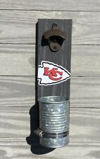 Kansas City Chiefs Wall mounted bottle cap opener Stained wood & galvanized cup