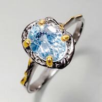 Fine art Jewelry Natural  Blue Topaz 925 Sterling Silver Handmade Ring/ RVS334