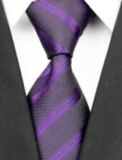 Purple Striped Business Tie Classic Mens Winter Necktie Online Racing Carnival