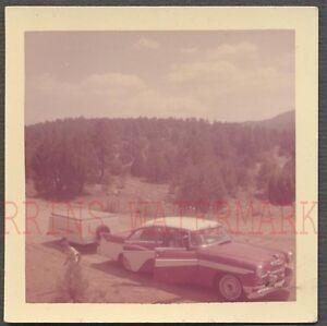Vintage Car Photo Roadside 1956 DeSoto w/ Camping Trailer & Open Sky 658638