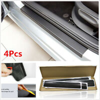 5D Carbon Fiber 4pcs Inner Door Sill Scuff Plate Car Decal Sticker Anti-Scratch