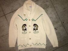 50s Cowichan Wool HAND KNIT Collar Sweater The Dude Lebowski FISHING M fish vtg