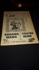 The Four Aces Bahama Mama You're Mine Rare 1957 Promo Poster Ad Framed!