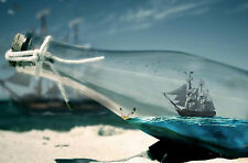 Encadrée Imprimer-navire dans une bouteille sur la plage (photo poster art ocean sea)