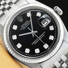 Мужские Rolex Datejust 18K белое золото и нержавеющая сталь черный бриллиант циферблат наручные часы