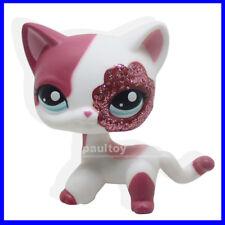Littlest Pet Shop Pink White Sparkle Glitter Short Hair Cat Kitty Girl #2291 B