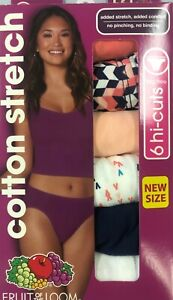 Fruit Of The Loom Cotton Stretch Hi-Cuts Tag Free Cotton Liner Panties - 6 Pack