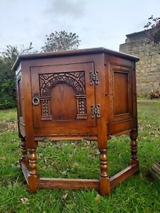 Old Charm Wood Bros Cantered Cupboard Hallway Console Collectable