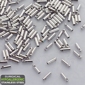 Surgical STEEL 10x Cord End Caps For Jewelry Making  1.2mm _617