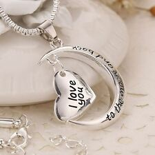 'I LOVE YOU TO THE MOON AND BACK ' Silver Plated Heart Charm Pendant Necklace UK
