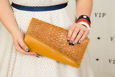 Vintage tan neptune leather snakeskin clutch bag