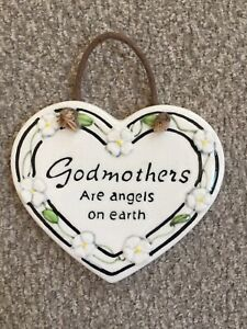 """⭐️""""Godmothers Are Angels On Earth"""" 3.5"""" Ceramic Ornament/Sm. Plaque"""