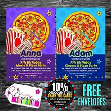 Personalizzato Compleanno Inviti FILM & Pizza Party X 5
