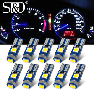 10pcs T5 LED Bulb W3W W1.2W Interior Dashboard Indicator Wedge Instrument Light