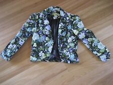 LADIES CUTE MULTI COLOUR FLORAL LINED 3/4 SLEEVE CROP JACKET BY AVOCADO- Size 8