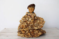 Folk Art Fisherman Lost at Sea, Mid Century Seashell Art Sculpture