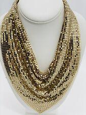 Vintage Statement Whiting Davis Gold Tone Metal Mesh Bib Necklace Collectible