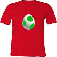 Nintendo Super Mario Bros Unisex Mens Womens V-Neck Yoshi Egg Video Game T-Shirt